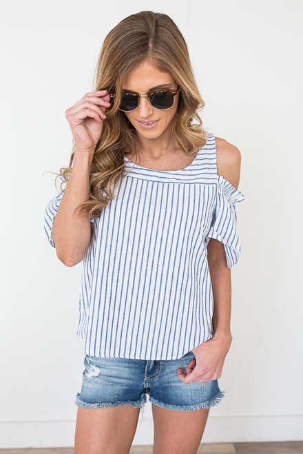 Everly Striped Cold Shoulder Top - Blue/White