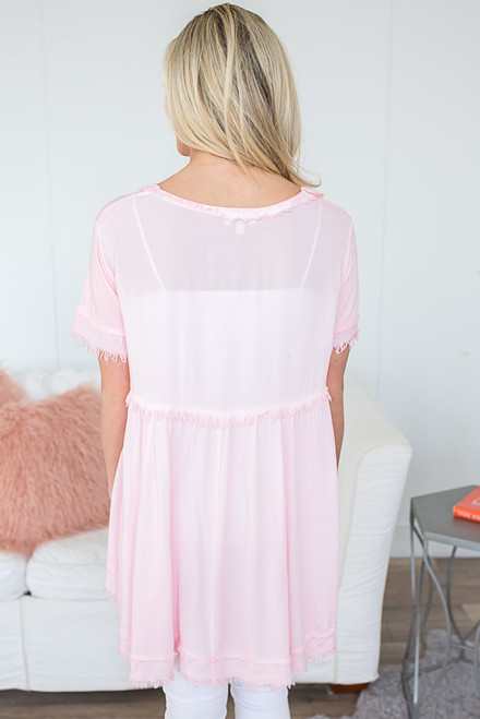 Vintage Wash Frayed Tunic - Bubblegum Pink