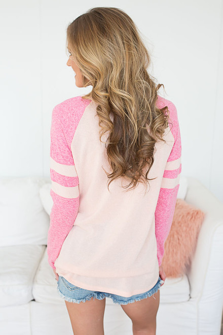 Long Sleeve Varsity Stripe Top - Peach/Fuchsia