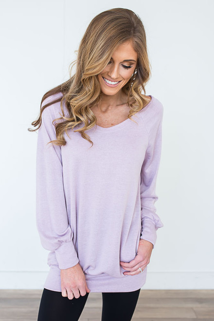 V-Neck Pocket Pullover - Lavender
