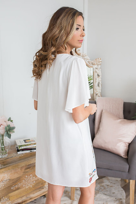 Garden Party Embroidered Shift Dress - Off White