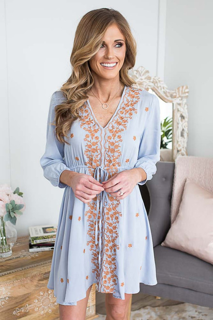 V-Neck Embroidered Dress - Clearwater Blue