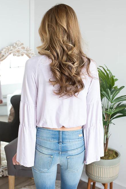 Bell Sleeve Boho Crop Top - Pale Lilac - FINAL SALE