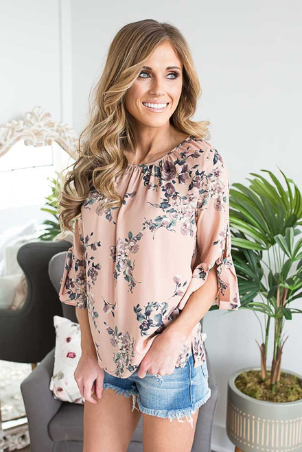 Peplum Tie Sleeve Floral Blouse - Dusted Apricot