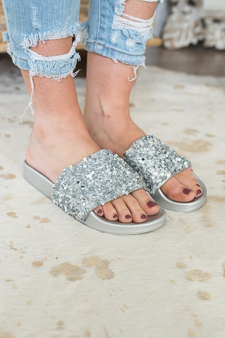 Seaside Princess Glitter Slides - Silver