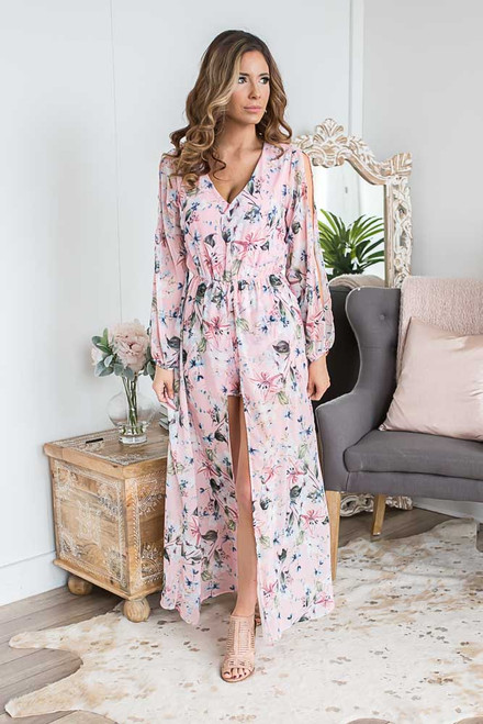 Open Sleeve Floral Romper Maxi - Pink Multi