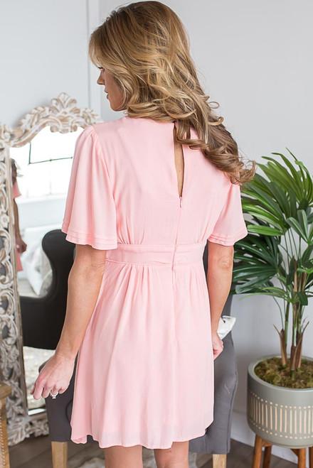 Short Sleeve Spring Belle Dress - Peach