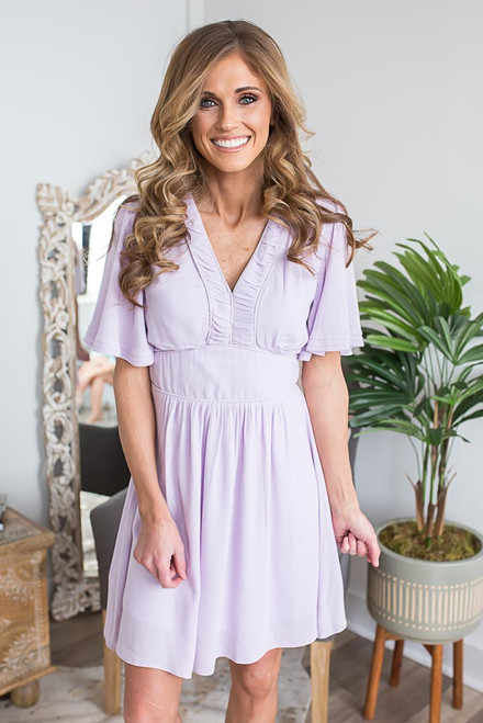 Short Sleeve Spring Belle Dress - Lilac - FINAL SALE