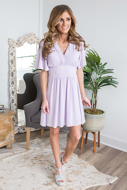 Short Sleeve Spring Belle Dress - Lilac