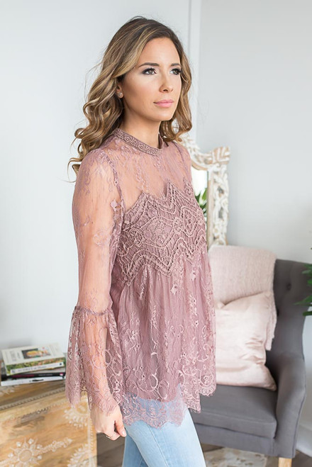 Bell Sleeve Scalloped Lace Top - Mauve