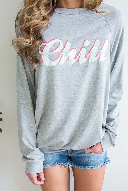 Chill Graphic Sweatshirt - Heather Grey