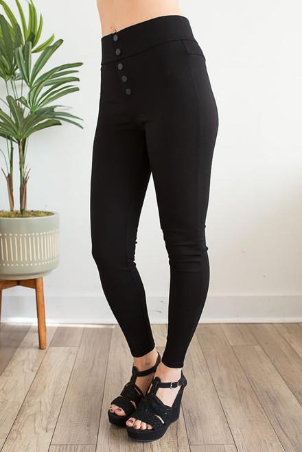 High Waisted Button Crop Leggings - Black