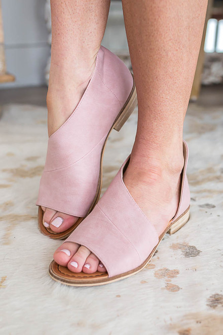 Distressed D'Orsay Open Toe Flats - Blush