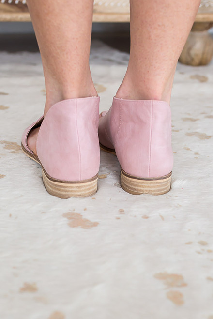 Distressed D'Orsay Open Toe Flats - Blush