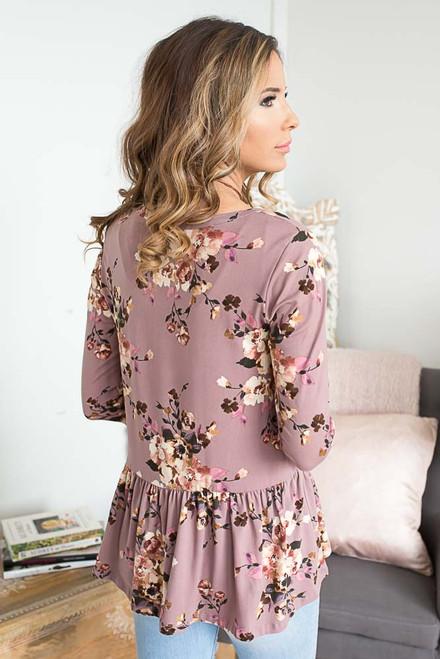 Floral Print Peplum Top - Lavender Mauve