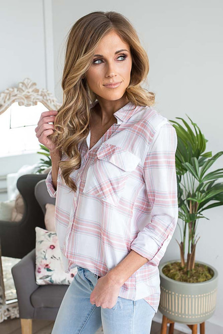 Button Down Plaid Roll Tab Top - Off White/Pink/Slate