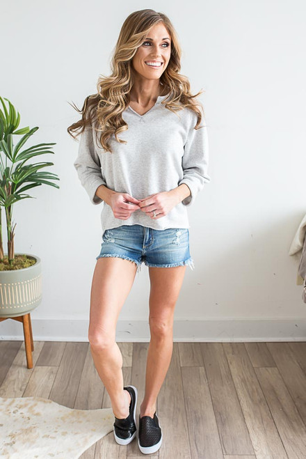 V-Neck High Low Pullover - Heather Grey