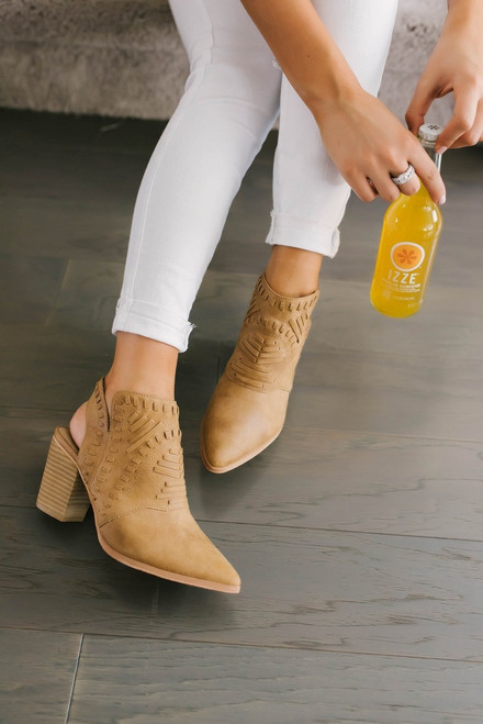 Woven Pointed Cowboy Booties - Camel