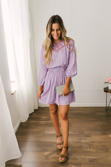 Lace Detail Smocked Dress - Lavender  - FINAL SALE