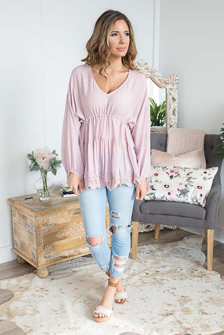 Scalloped Hem Peasant Top - Dusty Rose - FINAL SALE