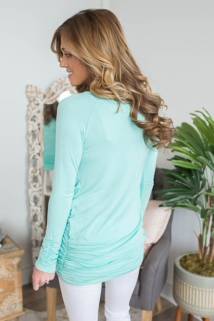 Long Sleeve Ruched Knit Tunic - Paradise Mint
