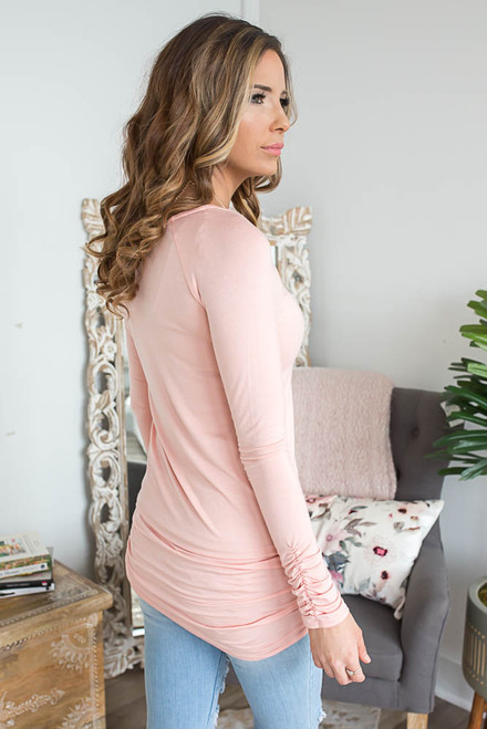 Long Sleeve Ruched Knit Tunic - Peach - FINAL SALE