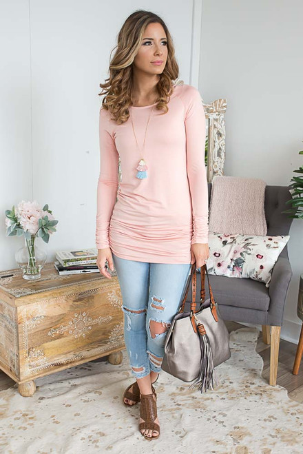 Long Sleeve Ruched Knit Tunic - Peach