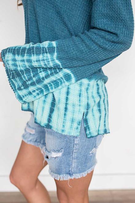 Thermal Tie Dye Hoodie - Teal/Mint - FINAL SALE