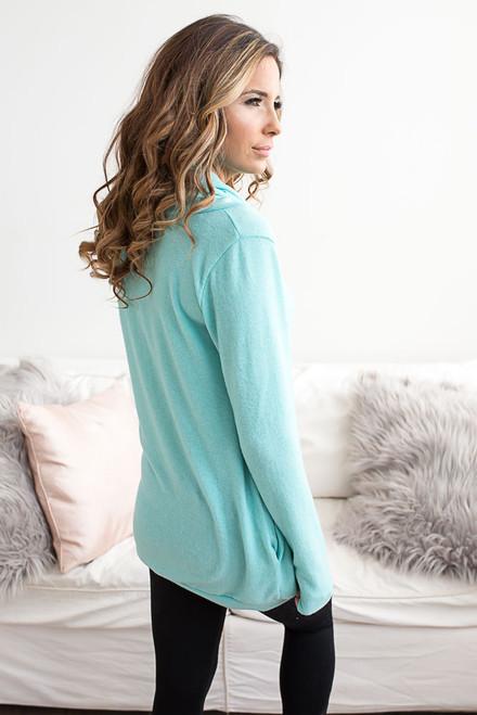 Cowl Neck Pocket Pullover - Aqua