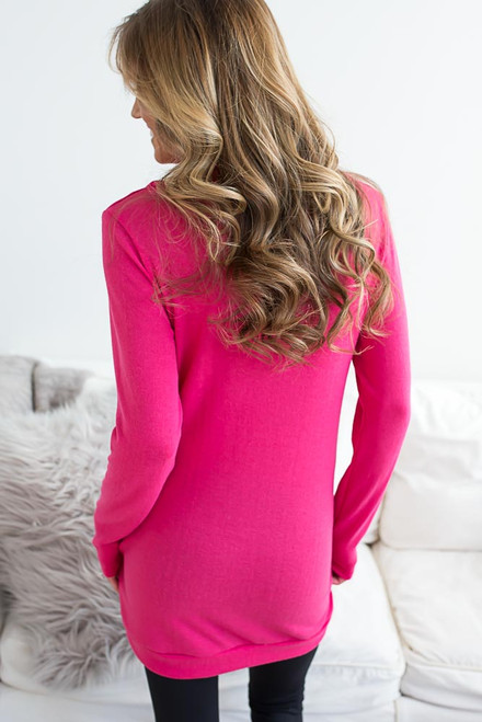 Cowl Neck Pocket Pullover - Hot Pink