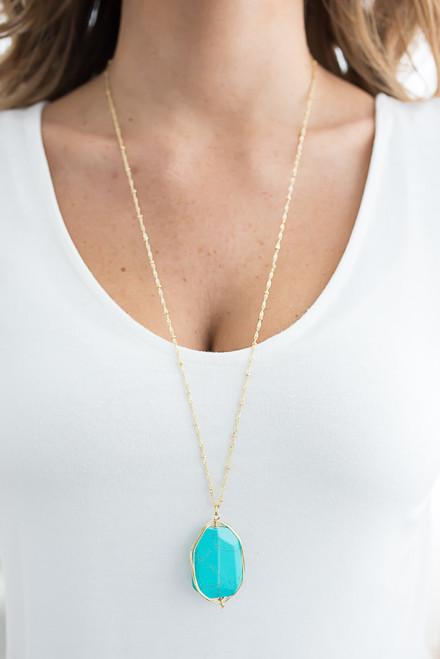 Pendant Stone Necklace - Turquoise