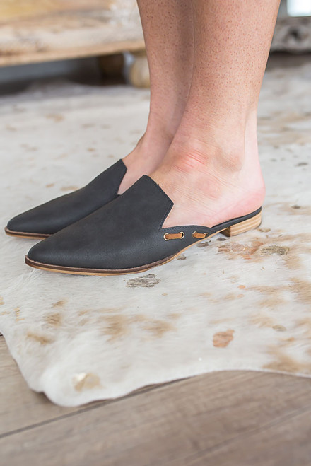 Market District Pointed Toe Mules - Charcoal - FINAL SALE