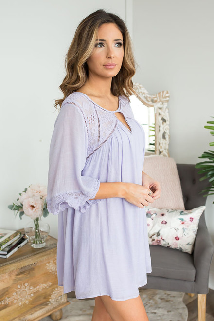 Crochet Detailed Keyhole Tunic Dress - Lilac