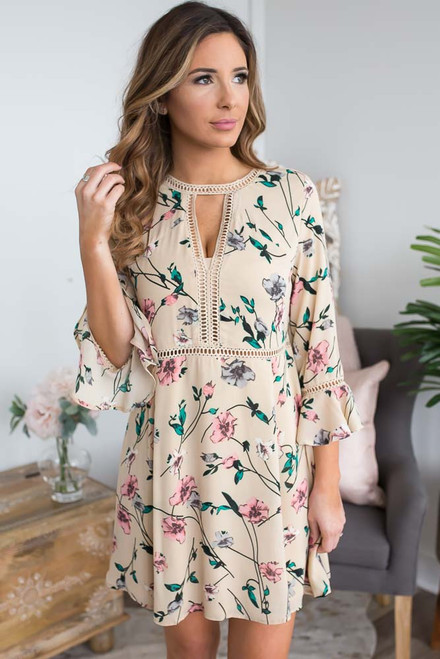 Floral Print Ladder Detail Dress - Taupe Multi