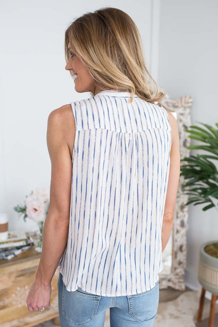 Striped Twisted Hem Choker Tank - Off White/Blue