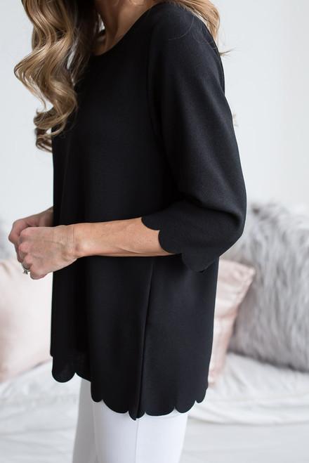 3/4 Sleeve Scalloped Hem Top - Black