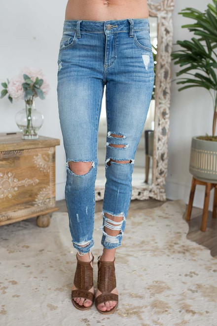 Sunkissed Distressed Skinny Jeans - Medium Wash
