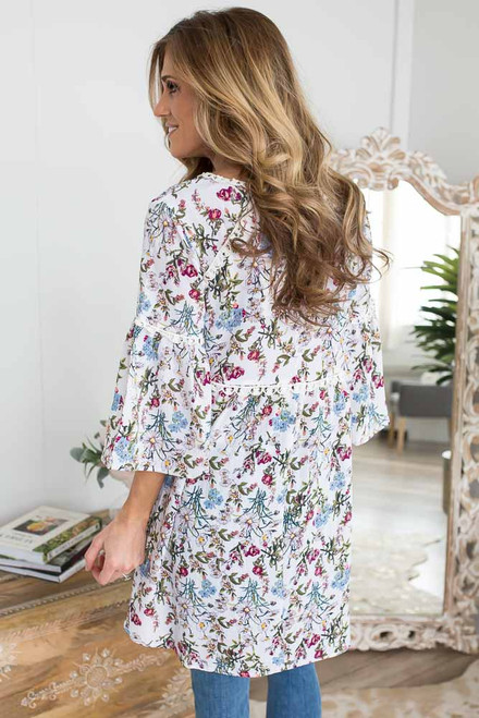 V-Neck Floral Tunic Dress - White Multi