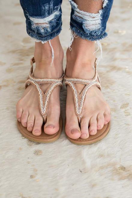 Summer Fling Embellished Sandals - Rose Gold