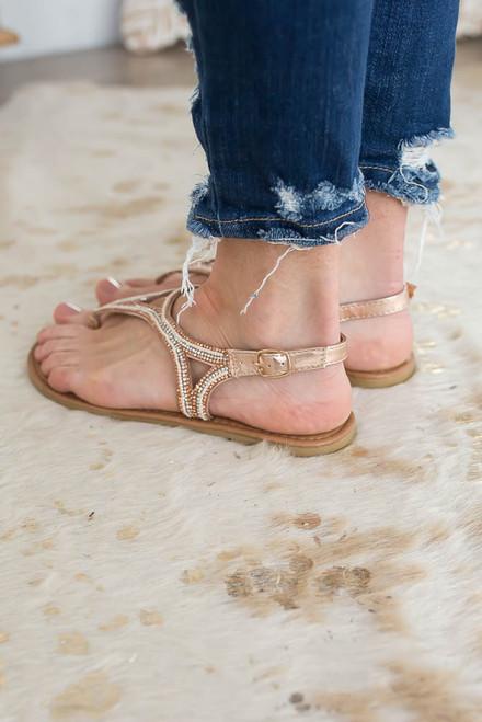 Summer Fling Embellished Sandals - Rose Gold - FINAL SALE