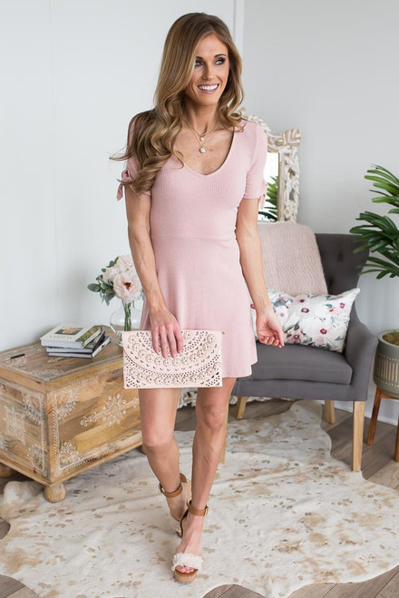 V-Neck Tie Sleeve Ribbed Dress - Blush  - FINAL SALE