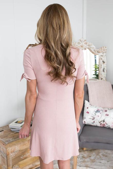 V-Neck Tie Sleeve Ribbed Dress - Blush  - FINAL SALE