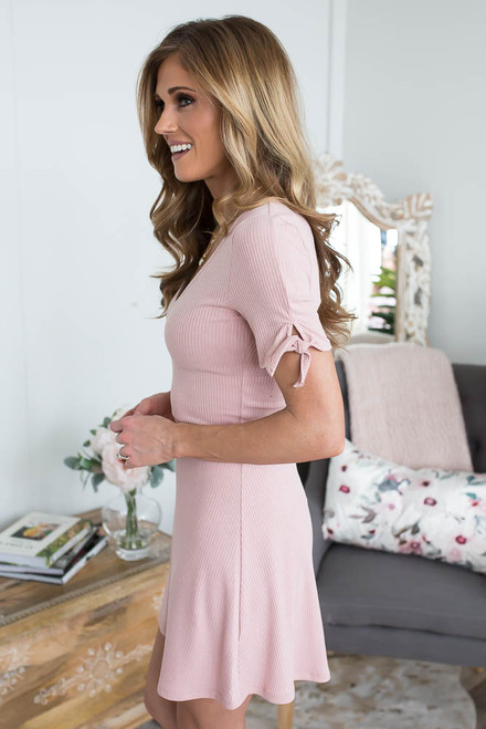 V-Neck Tie Sleeve Ribbed Dress - Blush