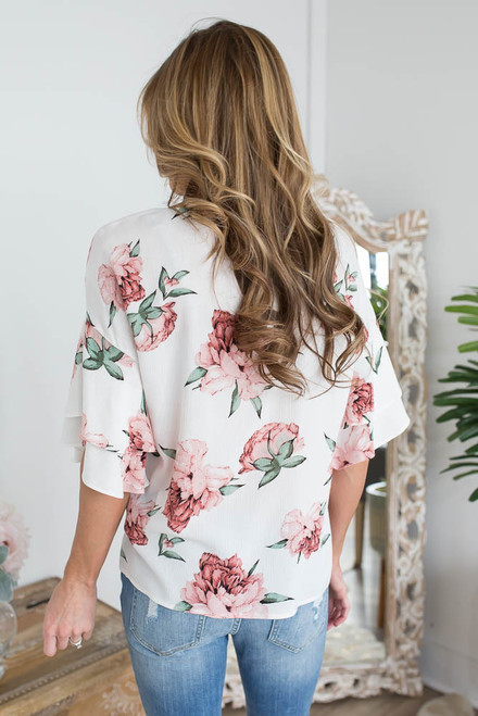 Everly Floral Double Ruffle Sleeve Top - Ivory