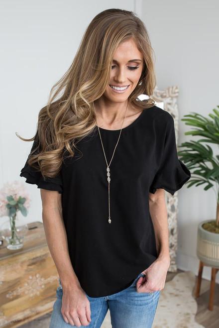 Short Ruffle Sleeve Top - Black