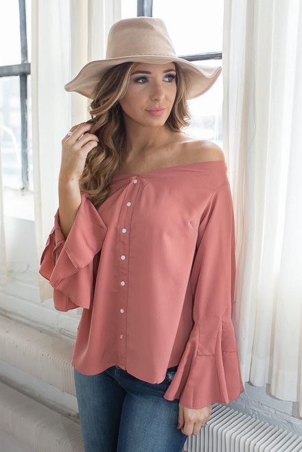 Off the Shoulder Bell Sleeve Top - Dusty Coral