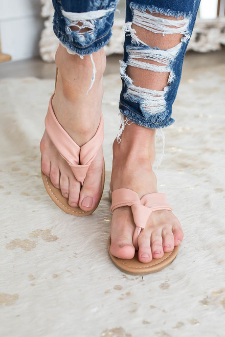 Spring Break Knotted Thong Sandals - Blush - FINAL SALE