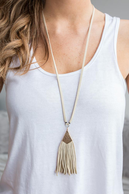 Faux Suede Tassel Necklace - Cream