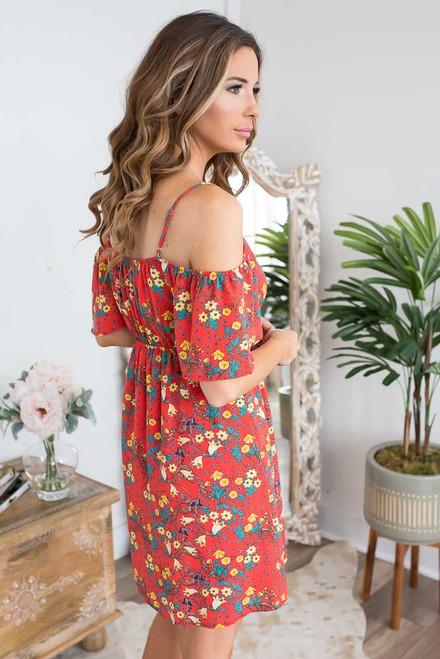 Floral Cold Shoulder Dress - Red Multi