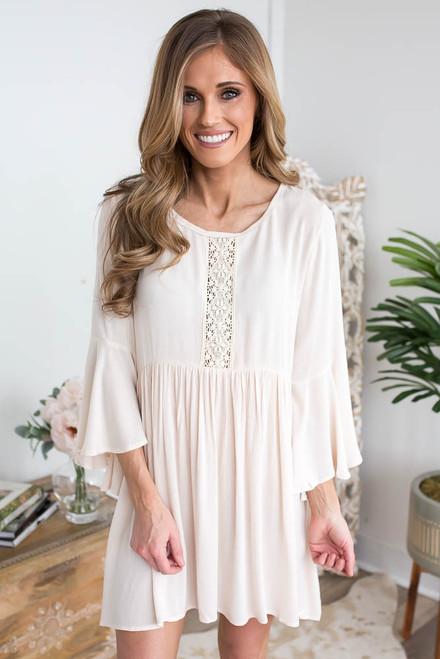 Crochet Detail Babydoll Tunic Dress - Cream
